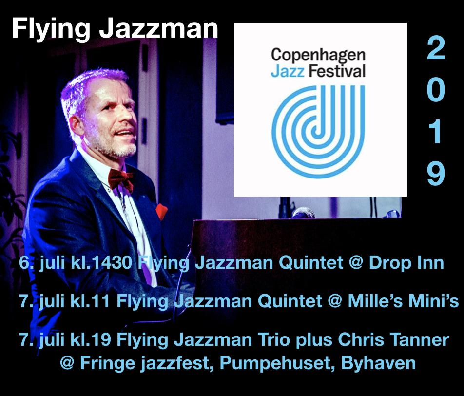 Flying Jazzman Trio plus Chris Tanner in København on 07/07/19